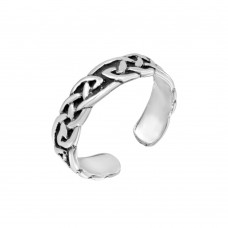 Wholesale Sterling Silver 925 Celtic Knot Weave Adjustable Toe Ring - TR193-A