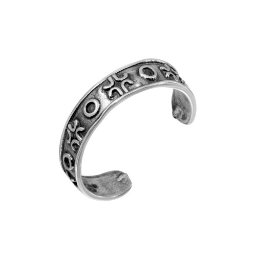Wholesale Sterling Silver 925 Alternating Circle Cross Toe Ring - TR197-A