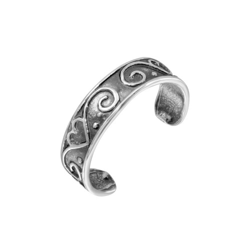 Wholesale Sterling Silver 925 Calligraphy Curve Heart Toe Ring - TR199-A