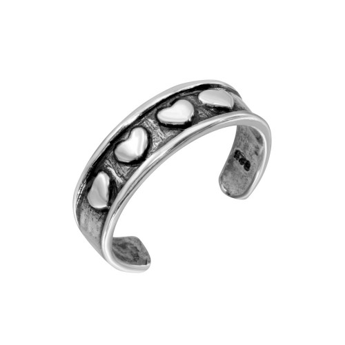 Wholesale Sterling Silver 925 4 Heart Toe Ring - TR207-A