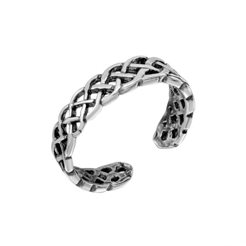Wholesale Sterling Silver 925 Weave Interlacing Adjustable Toe Ring - TR209-A