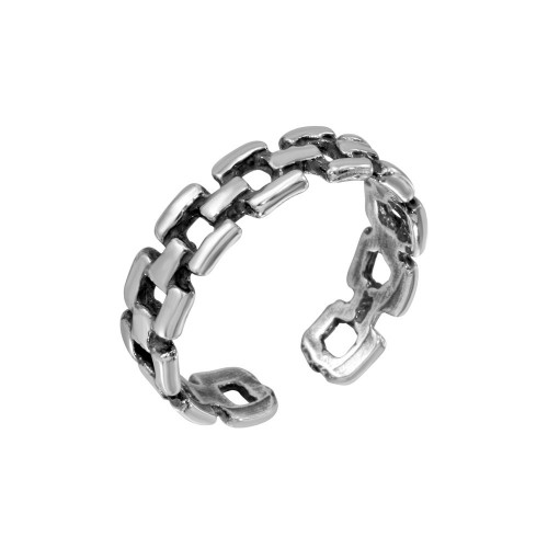 Wholesale Sterling Silver 925 Open Brick Block Adjustable Toe Ring - TR216-A