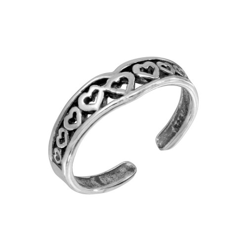 Wholesale Sterling Silver 925 Multi Heart Adjustable Toe Ring - TR221-A