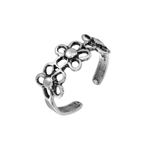 Wholesale Sterling Silver 925 Multi Open Flower Adjustable Toe Ring - TR224-A