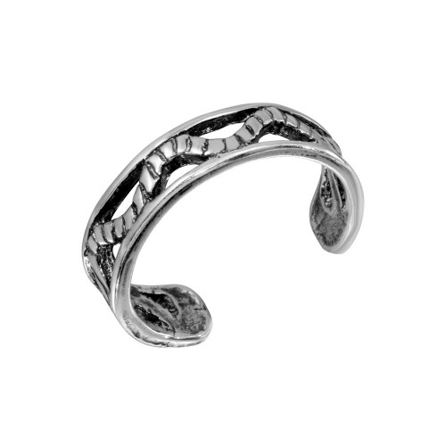 Wholesale Sterling Silver 925 Wave Rope Design Toe Ring - TR227-A