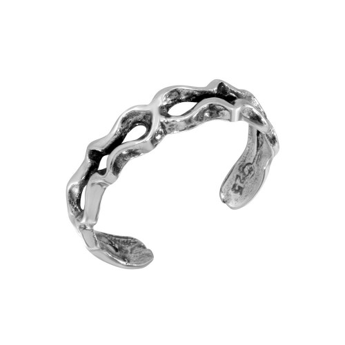 Wholesale Sterling Silver 925 Open Wave Adjustable Toe Ring - TR235-A