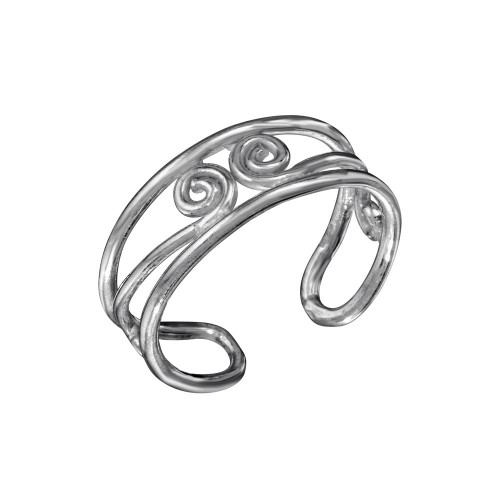 Wholesale Sterling Silver 925 S Curl Adjustable Toe Ring - TR256-A