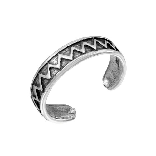 Wholesale Sterling Silver 925 Zigzag Adjustable Toe Ring - TR264-A