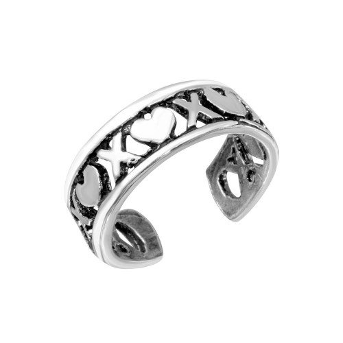 Wholesale Sterling Silver 925 X Heart Adjustable Toe Ring - TR266-A
