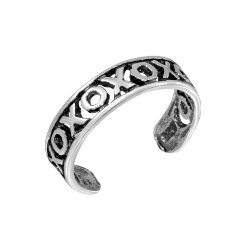 Wholesale Sterling Silver 925 XO Hugs Kisses Adjustable Toe Ring - TR270-A