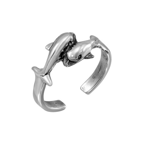 Wholesale Sterling Silver 925 Dolphins Adjustable Toe Ring - TR271-A