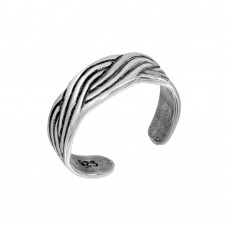 Sterling Silver 3 Line Butterfly Adjustable Toe Ring - TR275