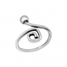 Sterling Silver Ball & Square Curl Adjustable Toe Ring - TR277