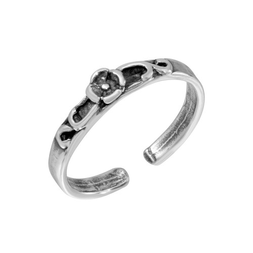 Wholesale Sterling Silver 925 Flower Curl Adjustable Toe Ring - TR291-A