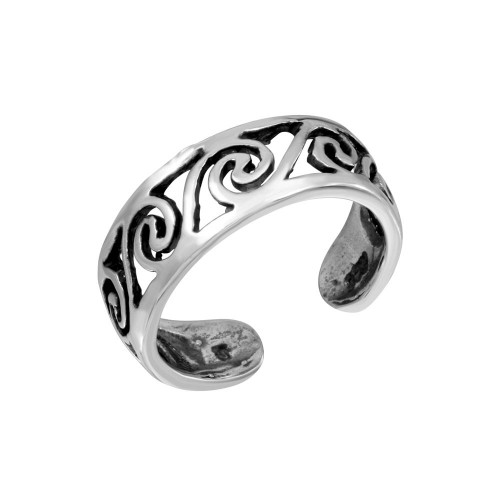 Wholesale Sterling Silver Open Wave Adjustable Toe Ring - TR294-A