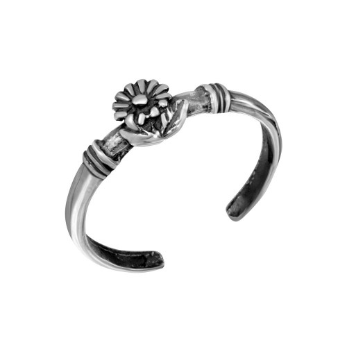 Wholesale Sterling Silver 925 Flower Adjustable Toe Ring - TR296-A
