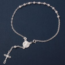 Sterling Silver High Polished Filigree Rosary Anklet 4MM - A044-4MM
