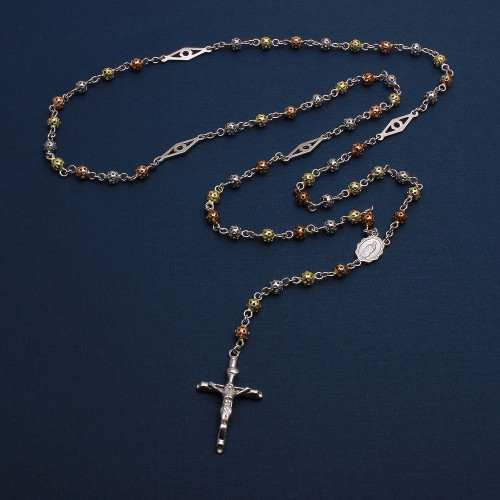 Wholesale Sterling Silver 925 High Polished 3 Toned Filigree Rosary with Open Bar Separator 4mm - ROS16-4MM