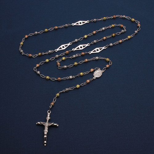 Wholesale Sterling Silver 925 High Polished 3 Toned Filigree Rosary with Open Bar Separator 3mm - ROS11-3MM