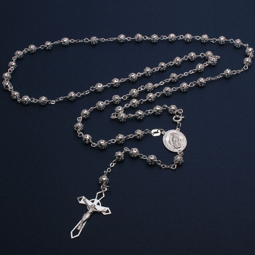 Wholesale Sterling Silver 925 High Polished Filigree Rosary 6mm - ROS23-6MM