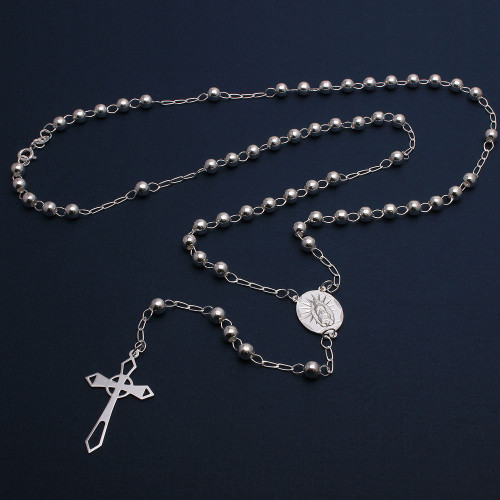 Wholesale Sterling Silver 925 High Polished Cross Rosary 5mm - ROS18-5MM