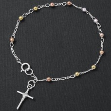 Sterling Silver High Polished 3 Toned Beads With Tied Up Cross Bracelet - ROSB07-3MM