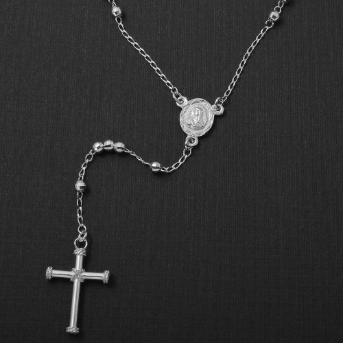 Wholesale Sterling Silver 925 Rhodium Plated Diamond Cut Beads Rosary Necklace 3mm - RS04RH-3MM