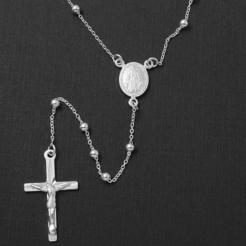 Wholesale Sterling Silver 925 High Polished Adjustable Rosary Necklace 3mm - ROS09-3MM