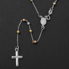 Sterling Silver High Polished 3 Toned Rosary 3mm Large Cross - ROS10-3MM