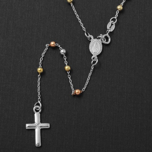 Wholesale Sterling Silver 925 High Polished 3 Toned Rosary 3mm Large Cross - ROS10-3MM