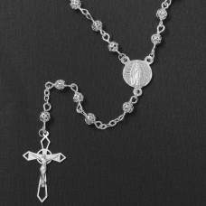 Sterling Silver High Polished Filigree Rosary 4mm - ROS12-4MM