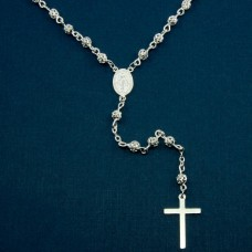 Sterling Silver High Polished 4MM Filigree Rosary with Flat Cross - ROS12-4MM
