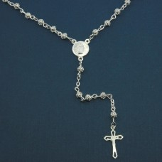 Wholesale Sterling Silver 925 High Polished 4MM Filigree Rosary with Small Cross - ROS12-4MM