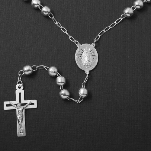 Wholesale Sterling Silver 925 High Polished Open Cross Rosary 6mm - ROS24-6MM