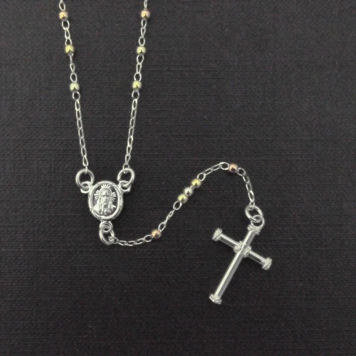 Wholesale Sterling Silver 925 High Polished 3 Toned Bead Rosary 2MM - ROS31-2mm