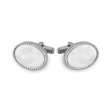 Stainless Steel Oval With Border Design Cufflinks - SCU00011