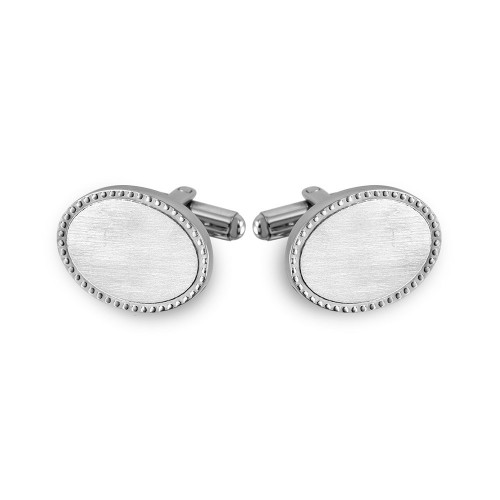 Wholesale Stainless Steel 925 Oval with Border Design Cufflinks - SCU00011