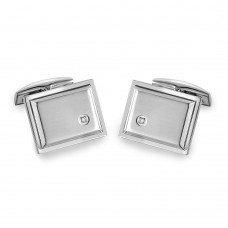 Stainless Steel Square With CZ Cufflinks - SCU00012