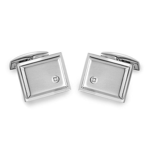 Wholesale Stainless Steel 925 Square with CZ Cufflinks - SCU00012