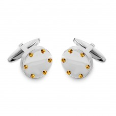 Stainless Steel Round With Gold Plated Studs Cufflinks - SCU00015