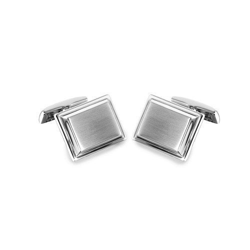 Wholesale Stainless Steel 925 Rectangle with Layer Cufflinks - SCU00019