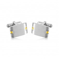 Stainless Steel Rectangle With Gold Plated Design Cufflinks - SCU00020
