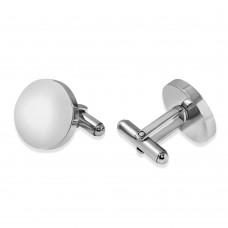 Stainless Steel Plain Engraveable Circle Cufflink - SCU00009