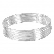 Wholesale Sterling Silver 925 High Polished Plain Semanario Bangle Bracelet - BG125