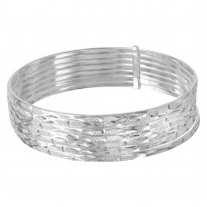 Wholesale Sterling Silver 925 High Polished Diamond Cut Semanario Bangle Bracelet - BG126