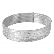 Wholesale Sterling Silver 925 High Polished Diamond Cut Semanario Bangle Bracelet - BG127