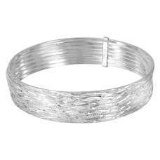 Wholesale Sterling Silver 925 High Polished Criss Cross Diamond Cut Semanario Bangle Bracelet - BG128