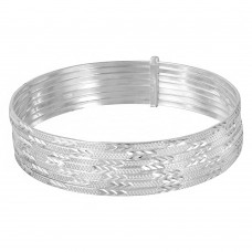 Wholesale Sterling Silver 925 High Polished Diamond Cut Semanario Bangle Bracelet - BG129
