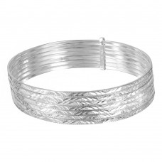 Wholesale Sterling Silver 925 High Polished Diamond Cut Semanario Bangle Bracelet - BG133