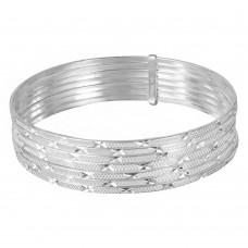 Wholesale Sterling Silver 925 High Polished Diamond Cut Semanario Bangle Bracelet - BG135